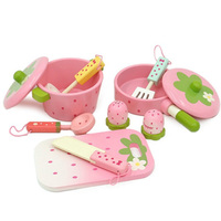 Baby Toys Pink Wooden Kitchen Toys Kids Pretend Play Cooking Toys Saucepan/Stewpot Play House Toys Birthday/Christmas Gift