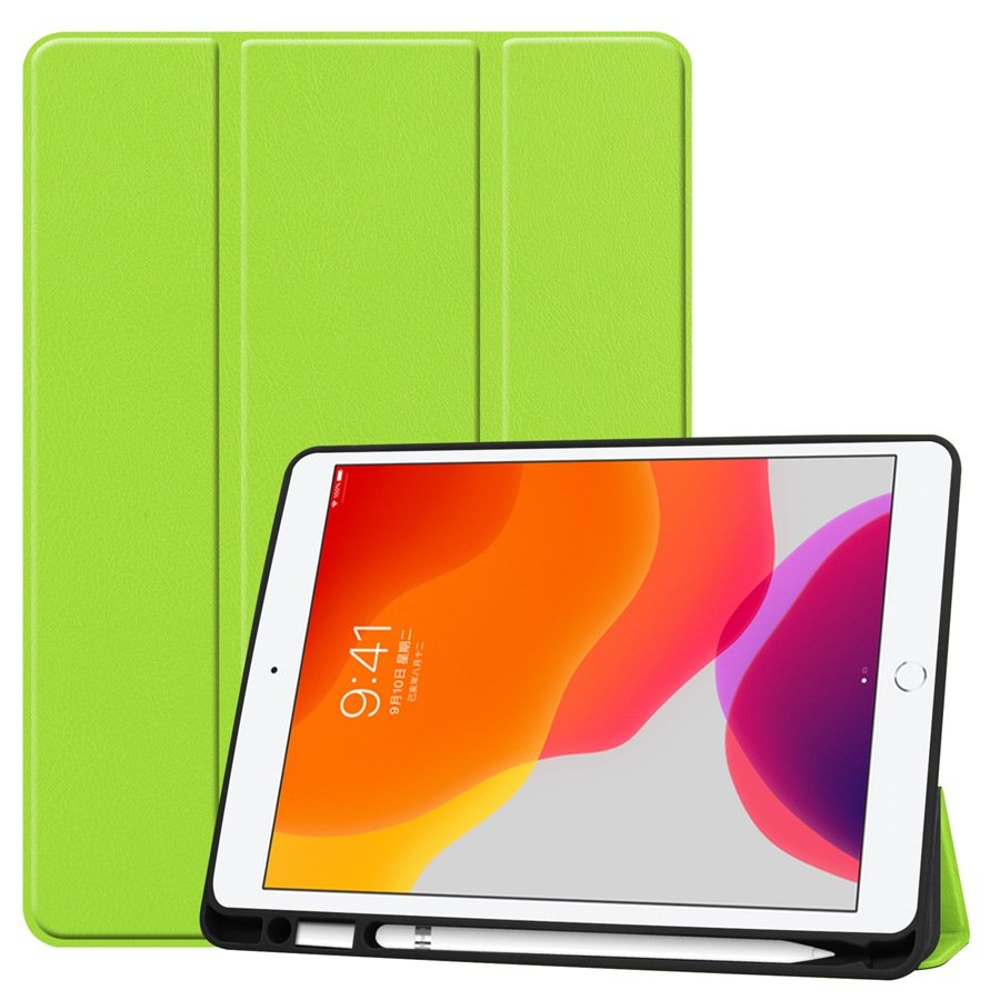 green Beige Slim Smart PU Leather Case For Apple iPad 10 2 2019 with Pencil Holder Cover For