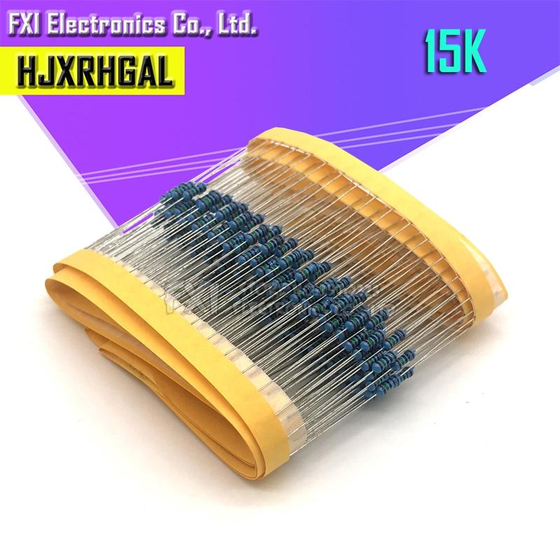 100PCS 15K Ohm 1/4W 1% Metal Film Resistor 0.25W 1/4w Resistance