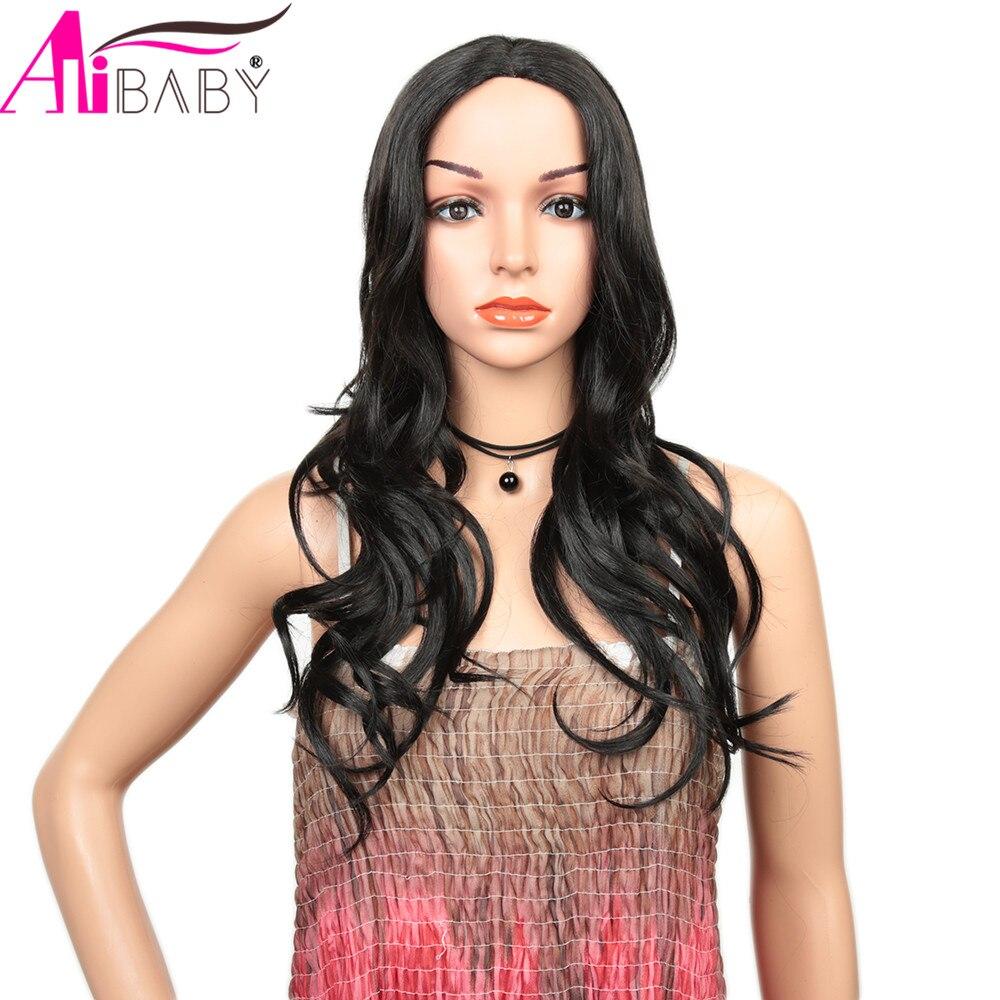 Perucas sintéticas 24 Polegada glueless resistente ao calor bonito ondulado perucas marrom escuro para o uso diário feminino parte média alibaby