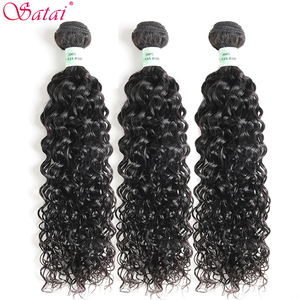 Image 2 - Satai Hair Extension Water Wave 3 Bundles With Closure 100% Human Hair Bundles With Closure Peruvian Hair Bundles Non Remy Hair