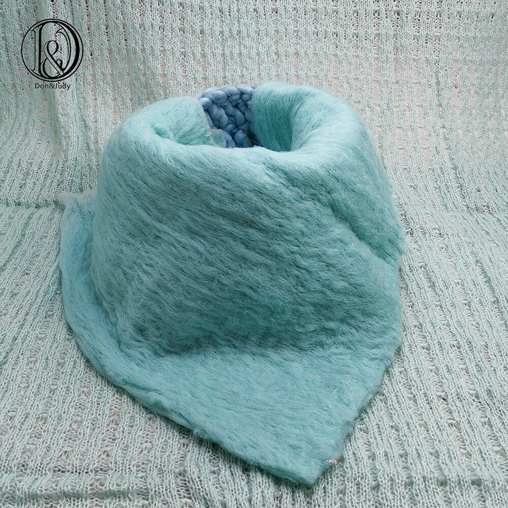 Don&Judy Handcraft 50x50cm 100% Wool Blanket + Basket +150x100cm Fabric Backdrop Newborn Blanket Background For Photo Shoot Prop