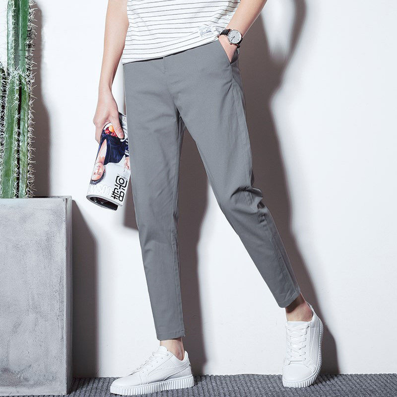 Men's Cropped Trousers With Small Feet And Loose Straight Tube Autumn Casual Pants Men's Slim Pants In Autumn And Winter Korean