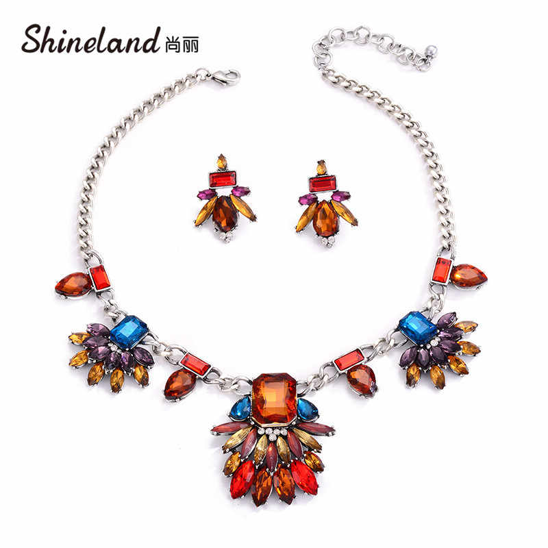 Shineland Fashion Jewelry Set Women Crystal Multicolor Flowers Necklace Earring Collar Bohemian Choker Necklaces Wholesale