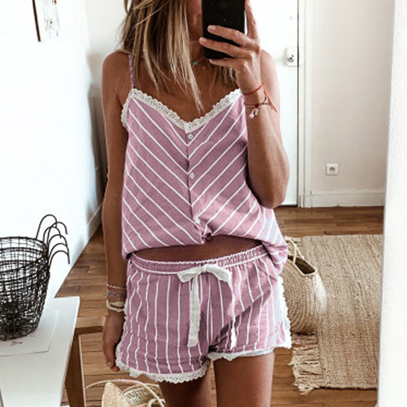 Women Pajamas Set  2020 Summer Nightwear Top And Pants  Ladies Sleepwear Sexy Stripe Strapless  Two Pieces Home Clothes