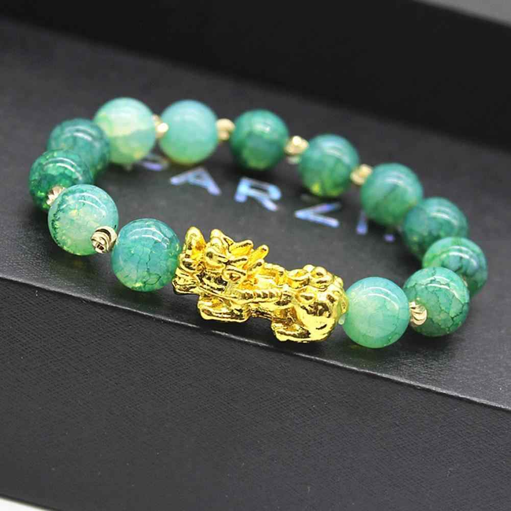 Bracelet PIXIU plaqué or pour femmes hommes perles colorées Couple bijoux de luxe cadeau apporter chanceux courageux richesse Bracelets Feng Shui