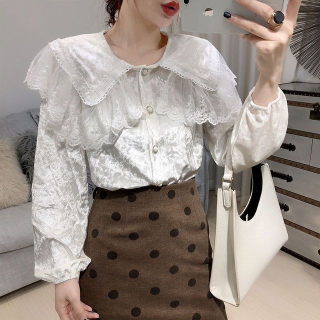 Temperament For Women 2020 Autumn Winter Lace Velvet Stitching Doll Collar Loose Shirt & Blouse Female Long-sleeved Button Tops 2
