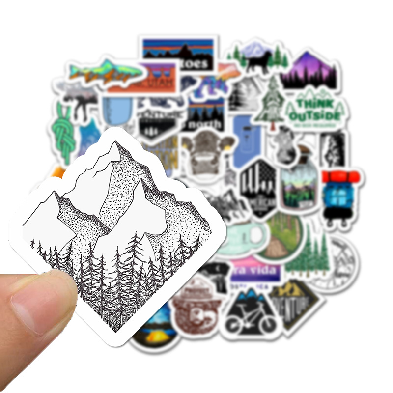 50PCS Outdoor Hiking Adventure Stickers For Car Styling Bike Motorcycle Phone Laptop Travel Luggage DIY TOY Vinyl Decal Sticker