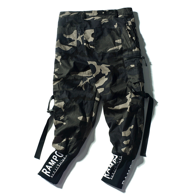 2019 Summer Men Camouflage Bib Overall American Vintage Hip Hop Ankle Banded Pants Youth Students Athletic Pants Men's Fashion