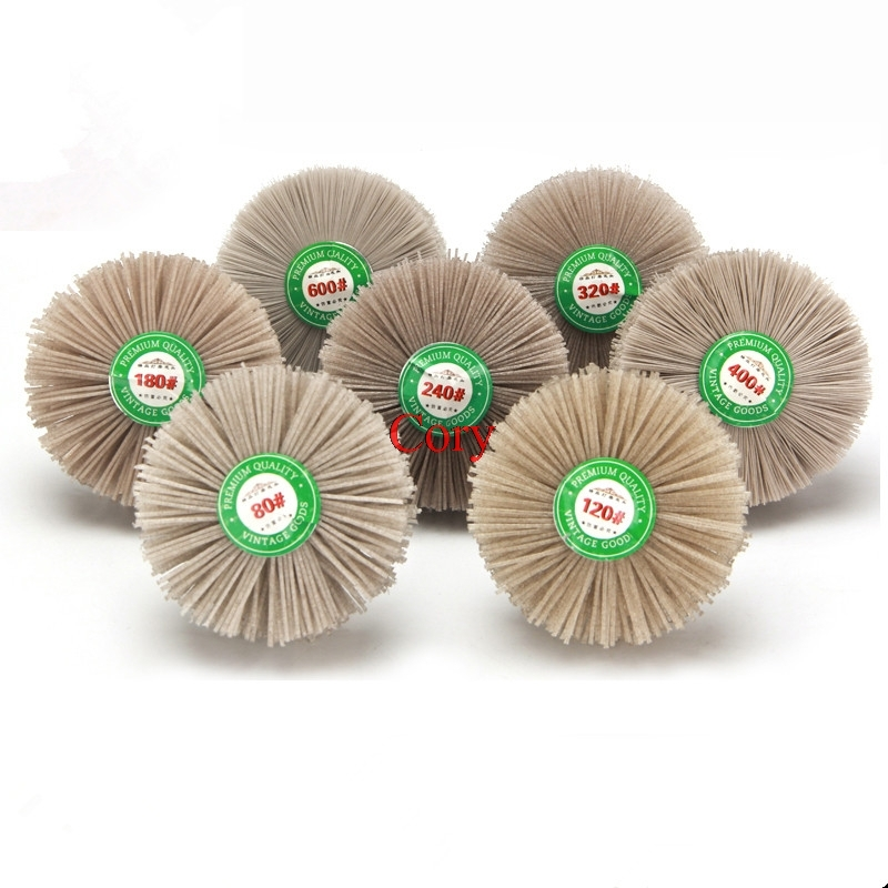 1PC 80-600#Polished Flower Head Abrasive Nylon DuPont Silk Wear Brush Wood Root Embossed Polishing Wheel Grinding CZYC