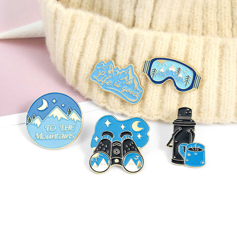 Travel Kit Camera Stars Moon Mountain River Telescope Enamel Pin Abstract Oil Painting Brooch Badges Jewelry Gifts For Traveler