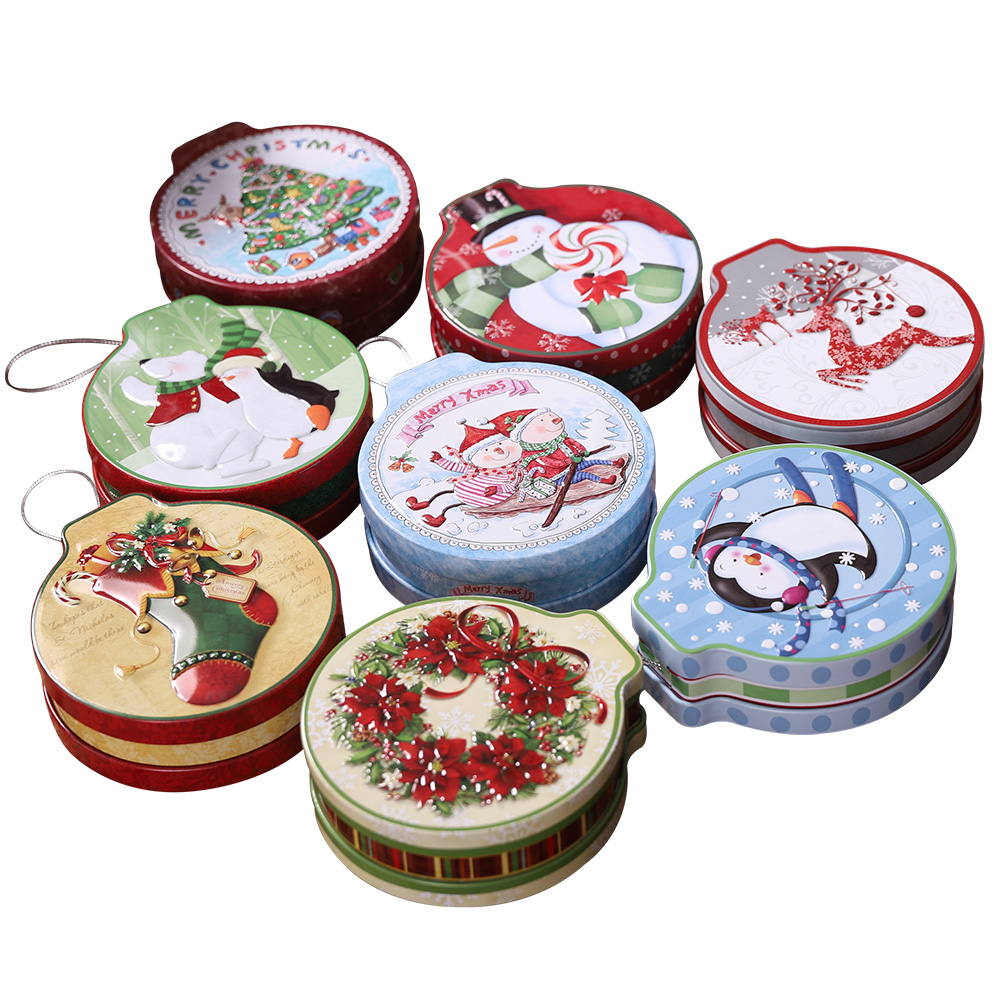1PCS Christmas Decoration Christmas Tree Pendant Christmas Tinplate Christmas Candy Box Christmas Pendant in Stockings Gift Holders from Home Garden