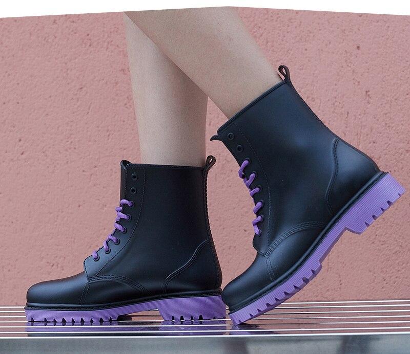 Nicht-slip Regen Stiefel Frauen Pvc Kreuz-gebunden Wasserdicht mit Ferse Wasser Schuhe Kurze Knöchel Gummistiefel Rain Damen weibliche Gummi