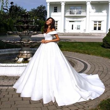 Simple White Satin Wedding Dress Boho Off the Shoulder Backless Bridal Gown Plus Size Gowns Vestidos De Mariee - discount item  42% OFF Wedding Dresses
