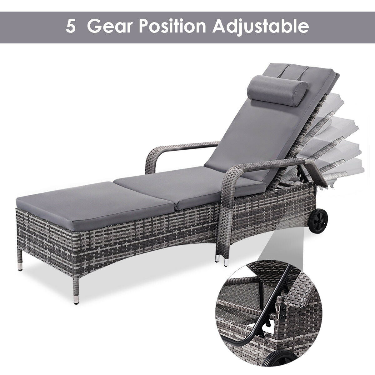 - Costway 2PC Rattan Chaise Lounge Chair Recliner Cushioned Patio