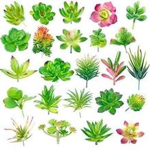 24 חבילה מלאכותי בשרניים צמח גן מיניאטורי מזויף קקטוס פרחוני DIY בית מזויף בשרניים צמחים מזויפים פו בשרניים