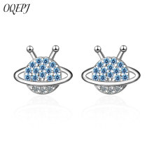 OQEPJ New Fashion Blue Planet Earring 925 Sterling Silver Valentines day Gift Cute Creative Earrings For Women Simple Jewelry