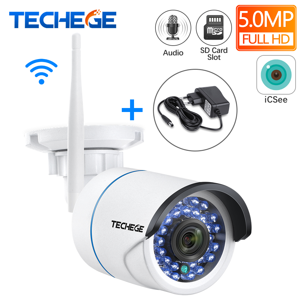 Techege HD 1080P Audio Wireless Wired Night Vision Outdoor Wifi IP Camera 2MP CCTV Camera SD Card Slot Max 64G W Free Adapter