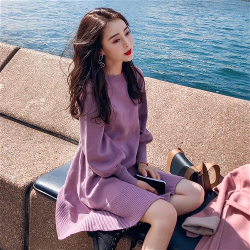 Высококачественное зимнее корейское платье, женское вязаное осеннее плотное платье миди оверсайз, модные платья свитеры с длинным рукавом|Платья| | АлиЭкспресс