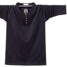 Мужская футболка с длинным рукавом и пуговицами размеры до 5xl