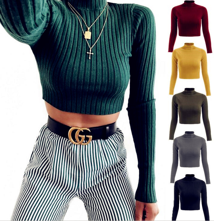 Knitted Tops Sweaters Pullovers Crop Boho Long-Sleeve Female Plus-Size Casual Solid title=