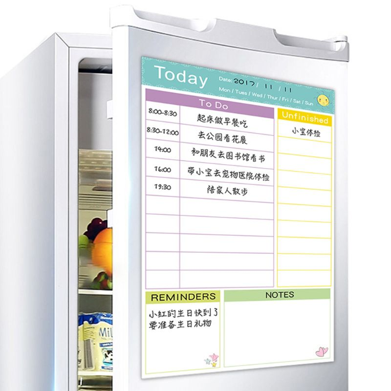 Daily Planner Magnetic Whiteboard Fridge Magnets Marker Eraser Record Message
