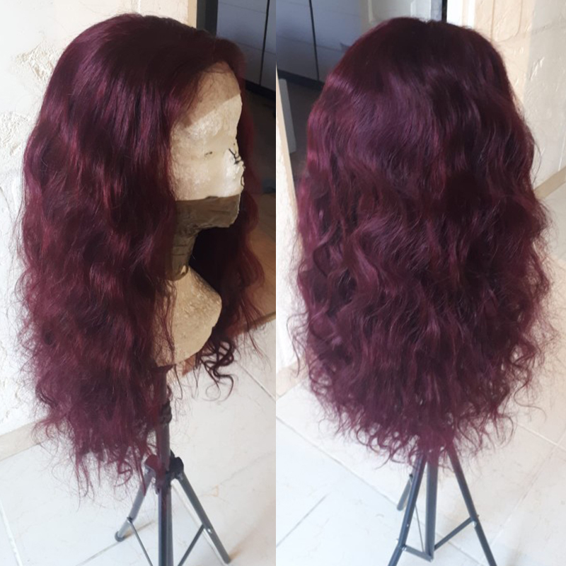 13x4 Lace Front Human Hair Wigs 99J/Burgundy RedWine Pre Plucked Body Wave Lace Wigs 150% Density Brazilian Remy Hair Wig KEMY
