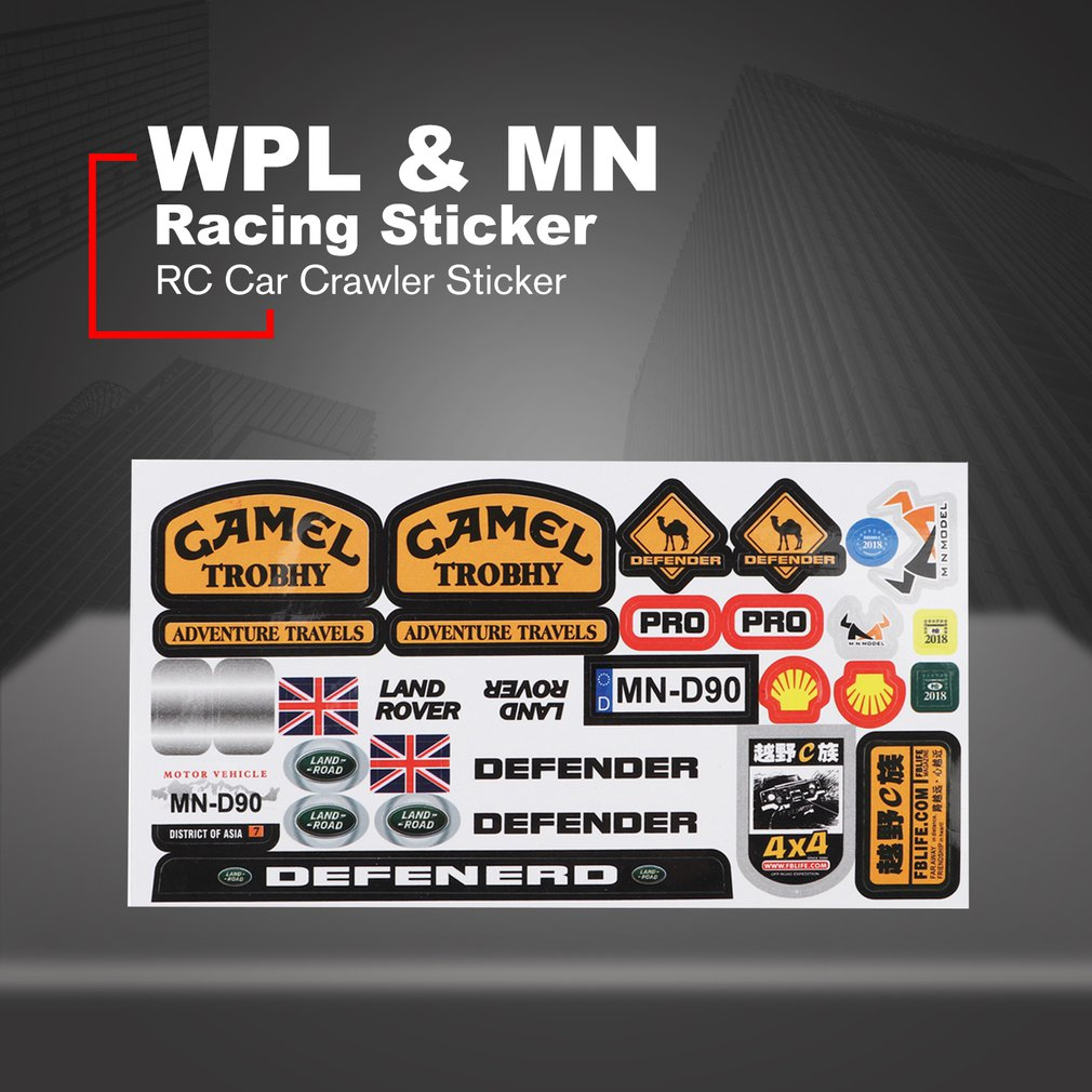 Micro Sponsor Logo Racing Sticker Sheet Universal For WPL & MN RC Car Crawler Sticker Parts RC Car Parts Durability