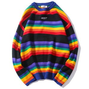 Image 4 - Men Women Oversized Sweater Rainbow Striped Round Neck Knitwear Stitching Color Fashion Casual Style Long Sleeve Pullover