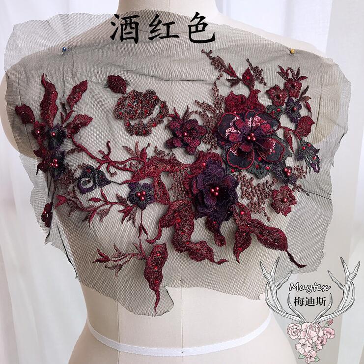 1 шт., горячая Распродажа, бордовые 3D кружевные цветы с аппликацией, шитье, 29*35 см, Красивая отделка из полиэстера, отделка из цветов