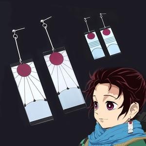 Anime Acrylic Earrings Demon Slayer Kimetsu no Yaiba Tanjirou Cosplay Ear Clip For Women Girl 1:1 Prop Jewelry Gift Серьги(China)