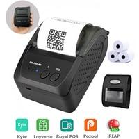 Portátil mini 58mm impressora bluetooth portátil impressora de recibos térmicos para o telefone móvel android ios windows bolso bill|Impressoras| |  -