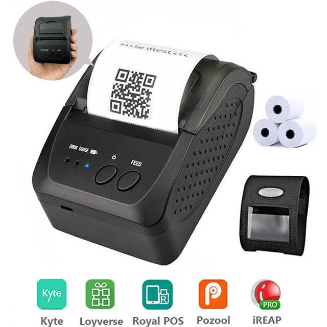Taşınabilir Mini 58mm Bluetooth yazıcı taşınabilir termal makbuz yazıcı cep telefonu Android iOS için Windows cep fatura