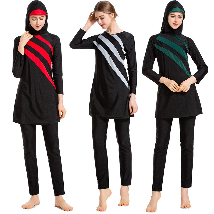 Burkini 2019 New Long Sleeves Muslim Swimwear Women Patchwork Color Hijab Maillot De Bain Femme Swimsuit Islamic Swim Wear