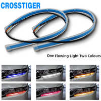2Pcs Car Styling LED Running Lights Accessories Light Auto Flowing Turn Signal Light Guide Strip Headlight Assembly Flash Lights