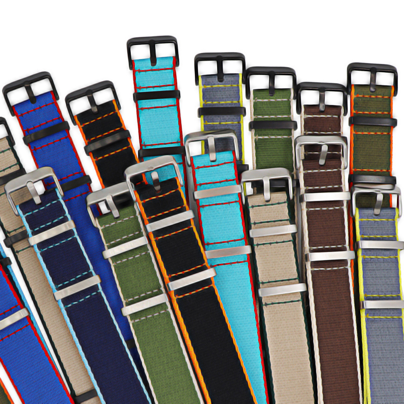 Premium Quality Herringbone 20mm 22mm Seatbelt Watch Band Nylon Nato Strap For Military Watch