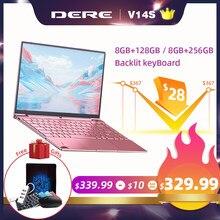 Dere V14S 14,1 inch 8GB 256GB ноутбук 1920x1080 Windows 10 Intel Celeron J3455 клавиатура с подсветкой 5G двухъядерный процессор Wi-Fi компьютер PC Тетрадь