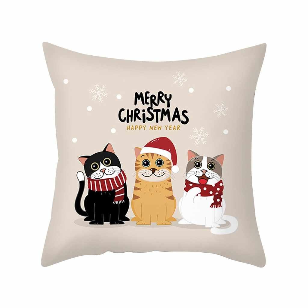 Nordic Deer Head Cushion Cover Christmas Throw Pillow Case Home Decor Sofa  Car Fundas Linen Cushions Pillows Cases Cojines 64p