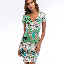 Women's Short Sleeve Vintage Floral Print Boho Split Wrap Slim Dress