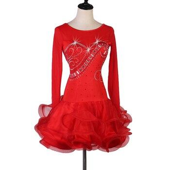 adult kids junior latin dress  salsa tango dresss  Rhinestones Costume Stage dress custom singer stage dress lq172