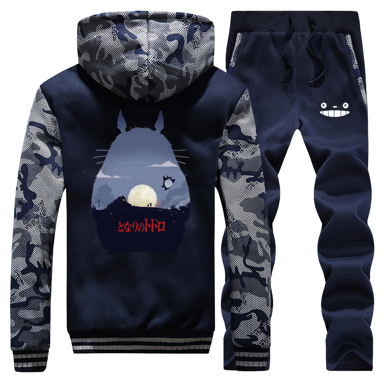 Hot Sale 2019 Winter Cartoon Hoody Japan Anime Totoro Men Raglan Fashion Camouflage Coat Thick Suit Sportswear+Pants 2 Piece Set