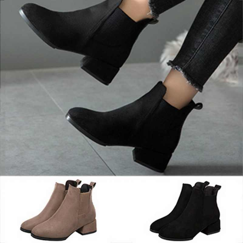 MoneRffi Women Autumn Winter Flock Ankle Boots Slip-on Round Toe 3.5cm Square Heel Solid Casual Black Camel Booties Size 35-43