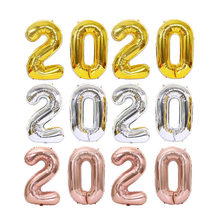16/32/40 inch Number Foil Balloon Large Rainbow Rose Gold Silver Digital Balloons birthday party decor kids Baby Shower Supplies(China)