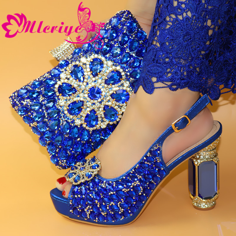Italiaanse Schoenen Met Bijpassende Tas Voor Party Met Stenen Bruiloft Schoenen En Tas Set Hoge Kwaliteit Vrouwen Pompen roze kleur PU leer - 5