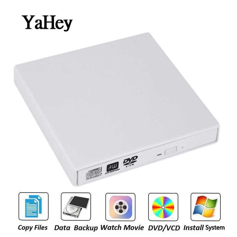 YAHEY USB 2.0 External DVD Drive Disc Player DVD-RW Burner Optical CD/DVD Drives Writer Recorder Portable For Laptop PC Windows