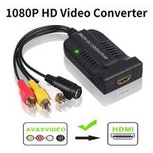 RCA S Video إلى HDMI محول محول الفيديو مع كابل يو اس بي ل HDTV DVD S Video كابل وصلة بينية مُتعددة الوسائط وعالية الوضوح RCA/AV إلى HDMI