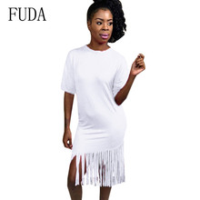 FUDA New Women Summer Tassel Dress Elegant Short Sleeve O-neck Bodycon Hollow Out Club Party Dress Ladies Fringe Clubwear цена и фото