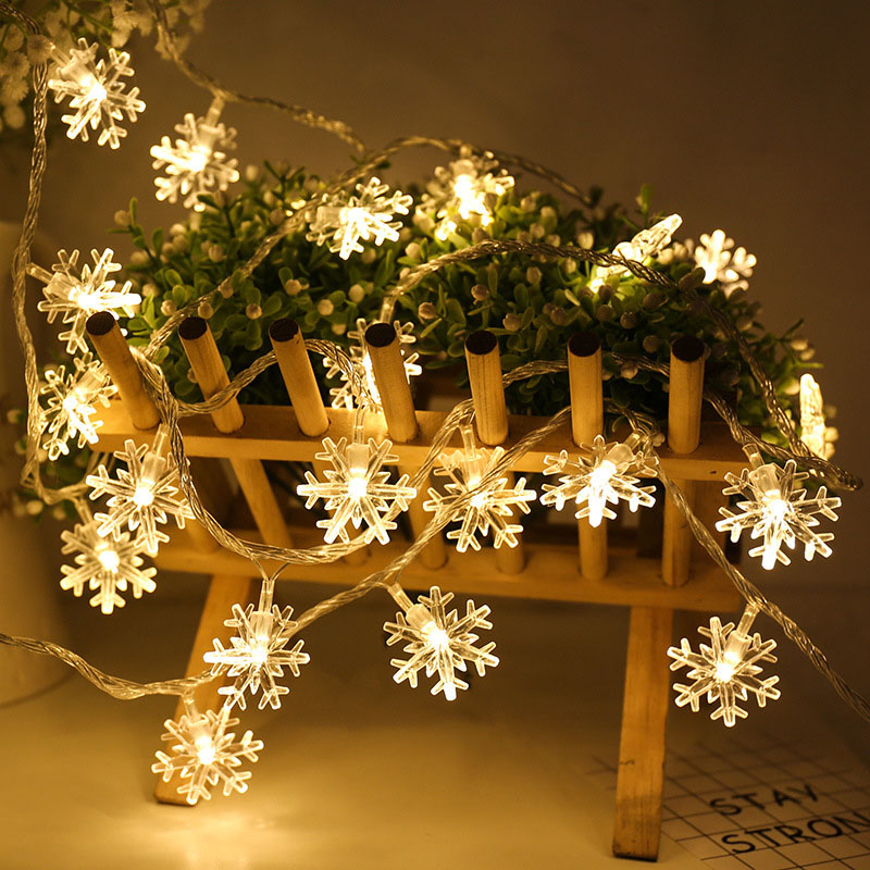 6M10M 20M 30M 220V EU /110V US LED Christmas Snowflake Garland String Fairy Lights Outdoor For Wedding Party Bar New Year Decor