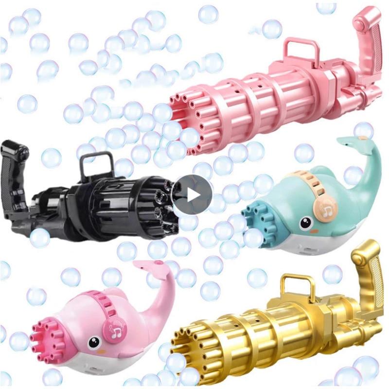 Pistolet à bulles dauphin Gatling, jouets pour enfants, Machine à bulles électrique, jouet de bain pour enfants, cadeau d'anniversaire, jouets d'extérieur/fête