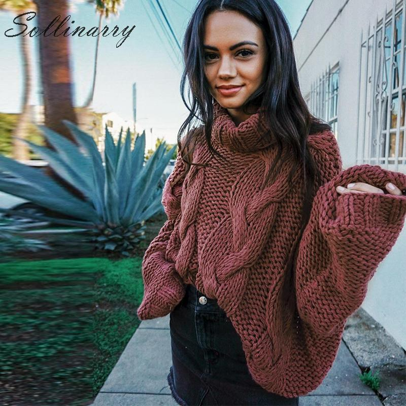 Sollinarry Fashion Long Sleeve Winter Sweaters Women Brown Turtleneck Thick Loose Sweaters Pullover Female Fall Casual Jumpers
